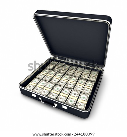 Case full of dollars. Clipping path included - stock photo