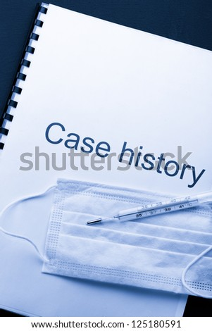 Case history, mask and thermometer on black