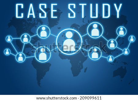 Case Study concept on blue background with world map and social icons. - stock photo