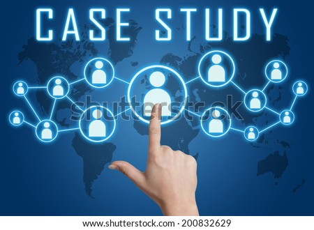 Case Study concept with hand pressing social icons on blue world map background. - stock photo