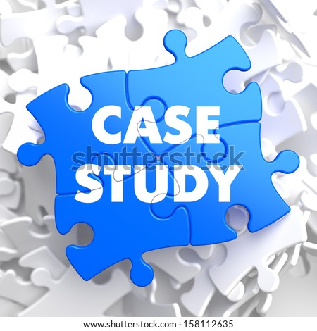 Case Study  Written on Blue Puzzle Pieces. Educational Concept. - stock photo
