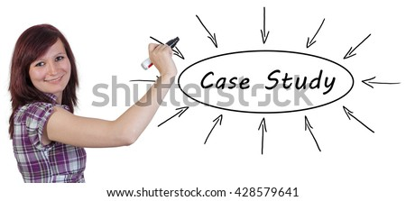 Case Study - young businesswoman drawing information concept on whiteboard.  - stock photo