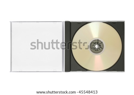 case with a blank cover and a disk are on white - stock photo