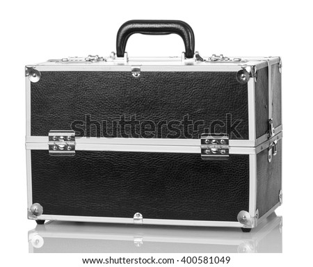Case with a professional makeup isolated on white background. - stock photo
