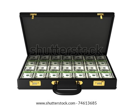 Case with bundles of 100$ banknotes - stock photo