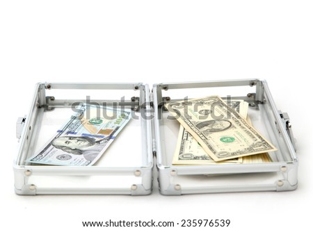 Case with money on a light background - stock photo