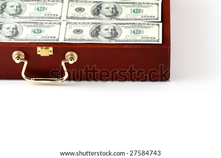 case with money on white - stock photo