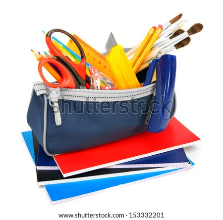 Case with school tools on writing-books. On a white background. - stock photo
