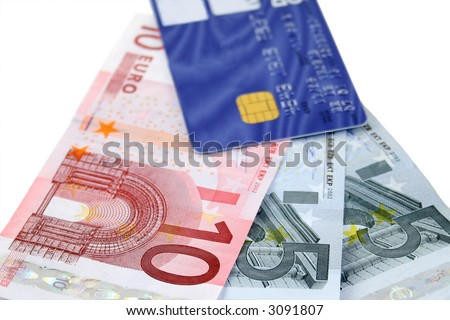 Cash advance using a credit card to withdraw Euros - stock photo