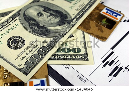 cash and credit cards - stock photo