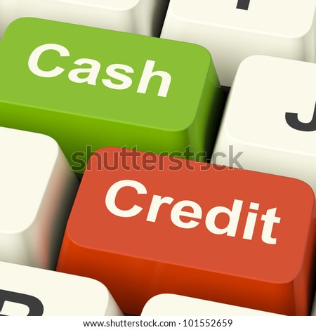 Cash And Credit Keys Showing Consumer Purchases Using Money Or Debts