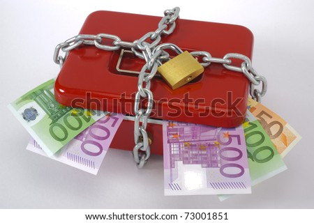 cash box and euro - stock photo