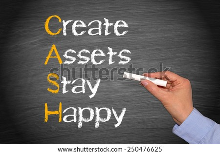 CASH - Create Assets Stay Happy - business and finance concept chalkboard - stock photo
