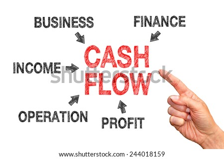 Cash Flow - Business concept with text and arrows - stock photo