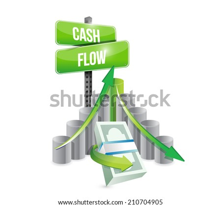 cash flow business graph illustration design over a white background - stock photo