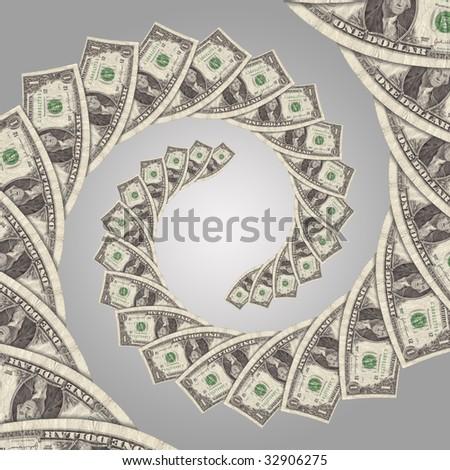cash flow money spiral - stock photo