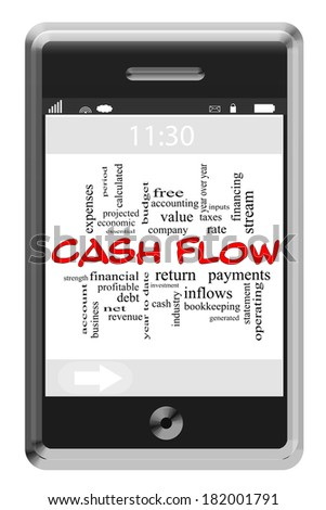 Cash Flow Word Cloud Concept of Touchscreen Phone with great terms such as revenue, stream, net and more. - stock photo