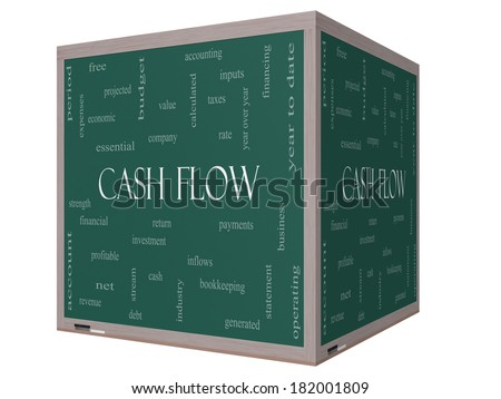 Cash Flow Word Cloud Concept on a 3D cube Blackboard with great terms such as return, investment, payments and more. - stock photo