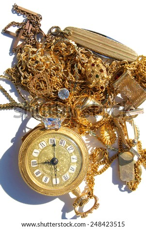 Cash for Gold. aka CASH 4 GOLD. Turn your old broken Jewelry and Gold into Cold Hard CASH when you turn it into a Gold Refiner. Cash for gold is a popular business venture that many have taped into - stock photo