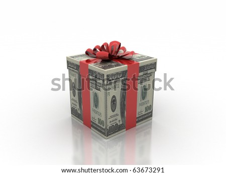 cash gift isolated on a white background