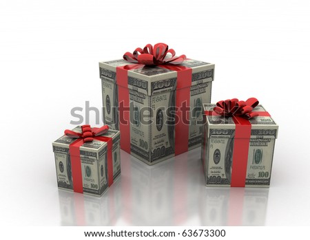 cash gifts isolated on a white background - stock photo