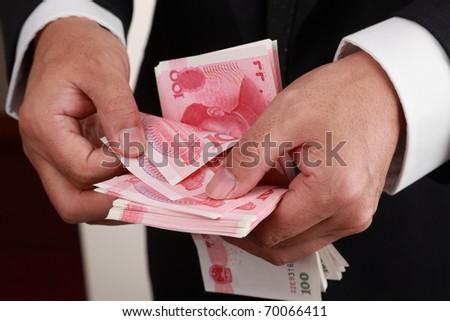 Cash in hands - stock photo