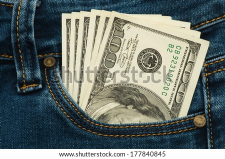 cash in your pocket - stock photo
