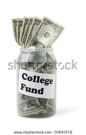 "Cash jar overflowing with US Dollar Bills. Sign with ""College Fund"" is taped to the jar. Studio shot isolated on white background, saved with clipping path - stock photo"