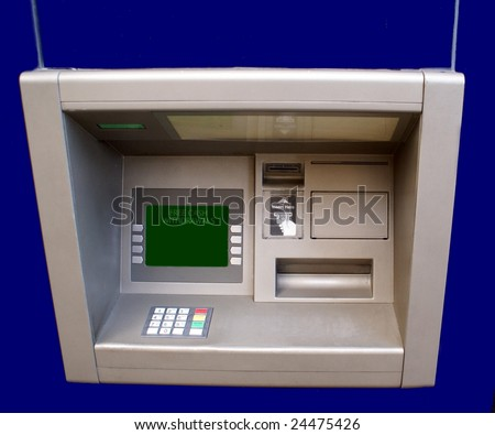 Cash machine. Cash point. Hole in the wall. Machine for free cash withdrawals - stock photo