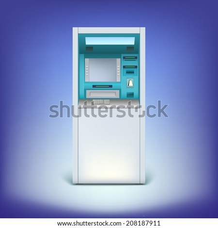 Cash machine closeup, for your design and business. Atm isolated on background - stock photo