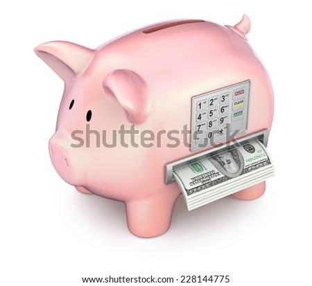 Cash machine in the piggy bank - stock photo