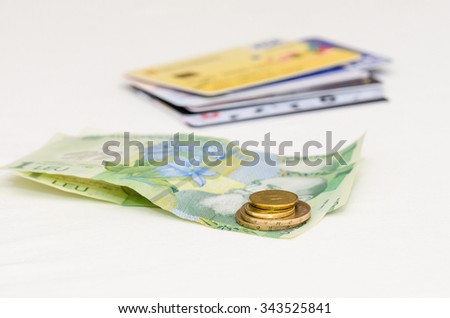 cash money and credit cards on white background.