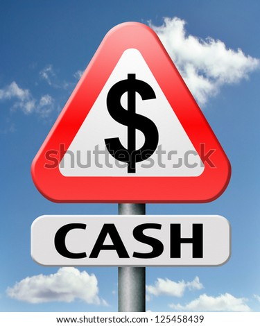 cash money loan from bank dollar sign currency flow rate easy fast income - stock photo