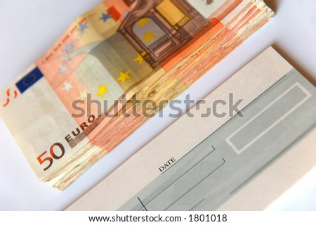 cash or cheque? - stock photo