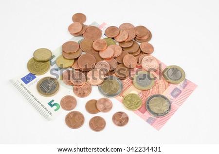 cash pile (EUR) - stock photo