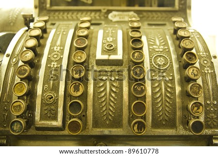 Cash register. Detail of an old cash register, charge in dollars. - stock photo