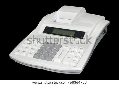 Cash register. Isolated on black background with clipping path. - stock photo