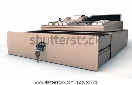 cash register isolated on white background - stock photo