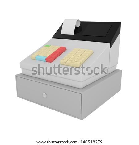 Cash Register isolated on white - 3d illustration - stock photo