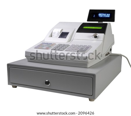 Cash register isolated with led display - stock photo