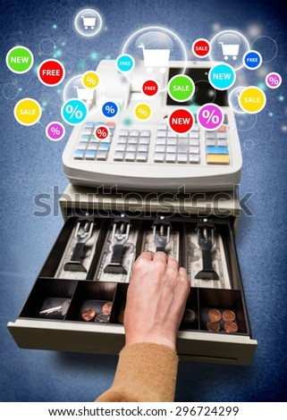 Cash Register, Thief, Stealing. - stock photo