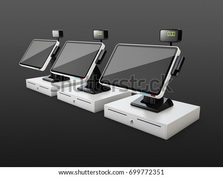 Cash registers in a row, isolated on black background, 3d illustration.