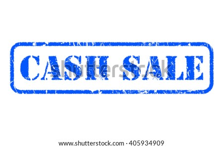 CASH SALE blue rubber stamp text on white - stock photo