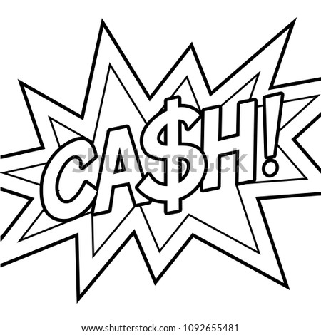 cash word coloring retro raster illustration stock illustration