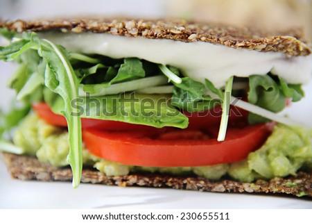 cashew mayo sandwich upclose - stock photo