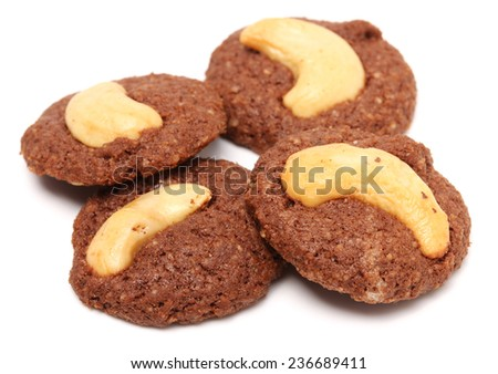 cashew nut brownie isolated on white background - stock photo
