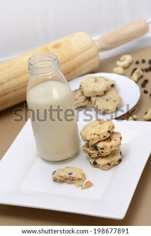cashew nut & chocolate ship cookie - stock photo