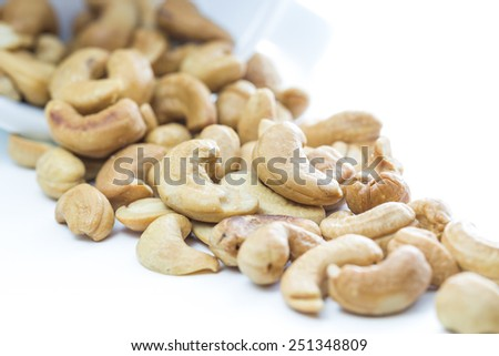 Cashew nut on white background and copy space