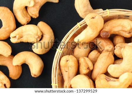 cashew nuts background - stock photo
