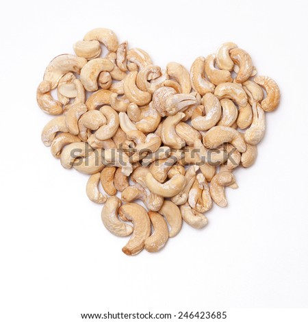 Cashew Nuts Division of Heart - stock photo